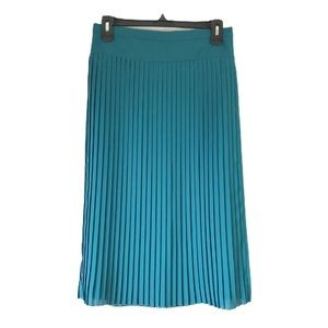EUC J. Crew teal accordion pleated midi skirt 6p